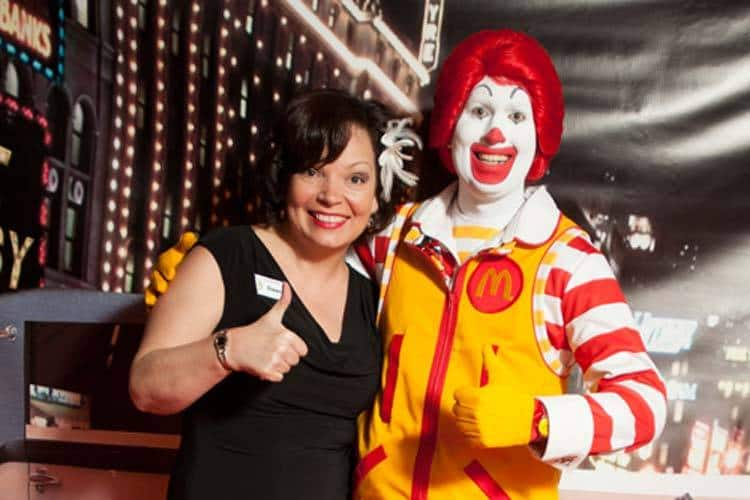 Dawn Takacs with Ronald McDonald Warming Up The Photo Booth!