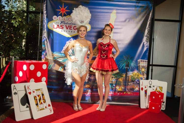 Our Showgirl Posing with Our Candy Girl |Las Vegas Photo Booth