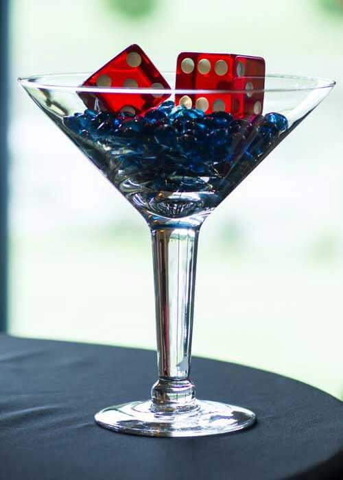 James Bond Party Decor / Martini Glass & Dice