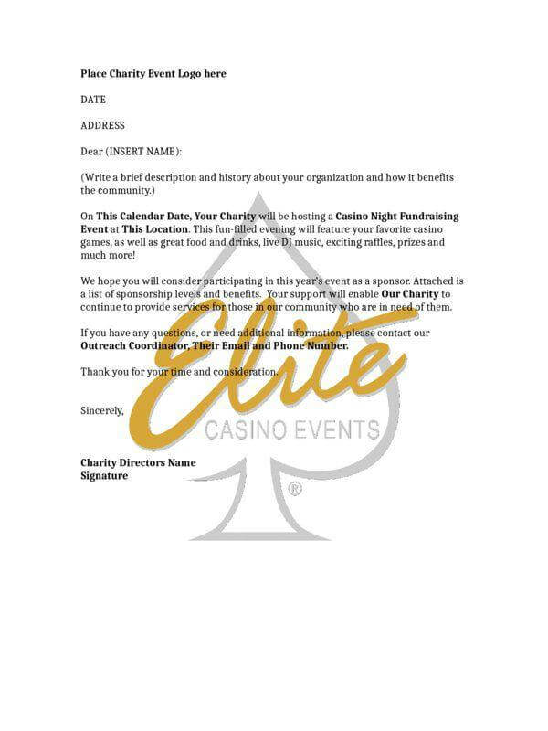 Sample of a Casino Night Fundraising Sponsorship Letter