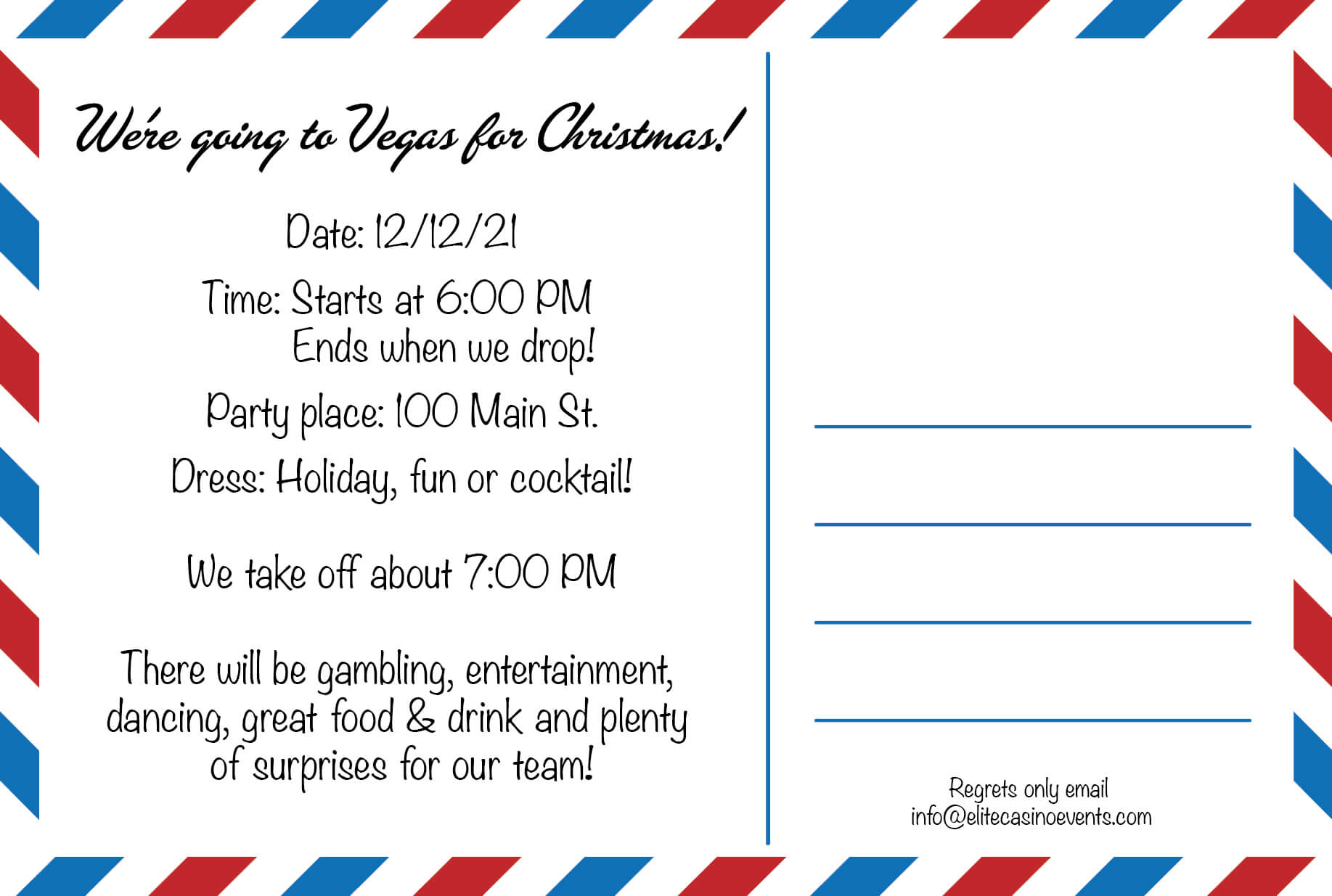 Las Vegas Postcard Invitation
